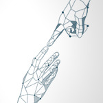 Two robotic hands touching index fingers
